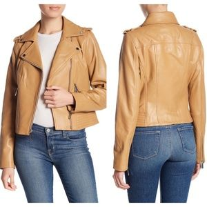 Michael Kors Moto Biker Leather Jacket M $450